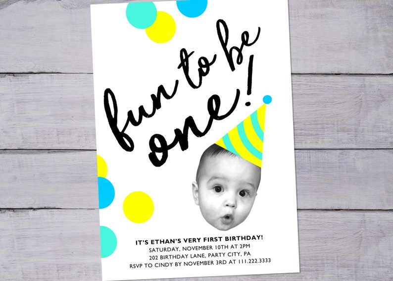 Party Hat Baby Face Photo First Birthday Invitation With Confetti