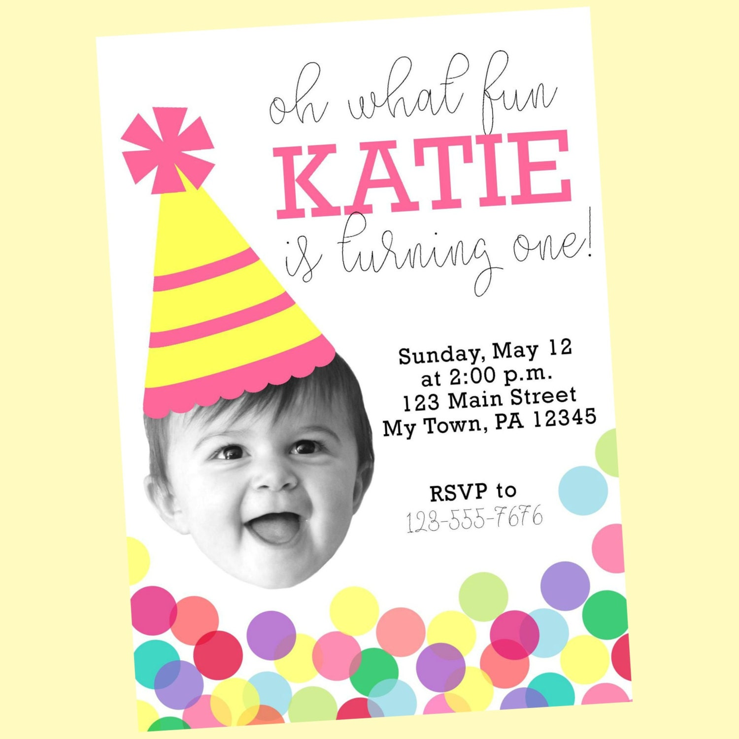 Baby Face Photo First Birthday Party Invitation with Confetti   Etsy