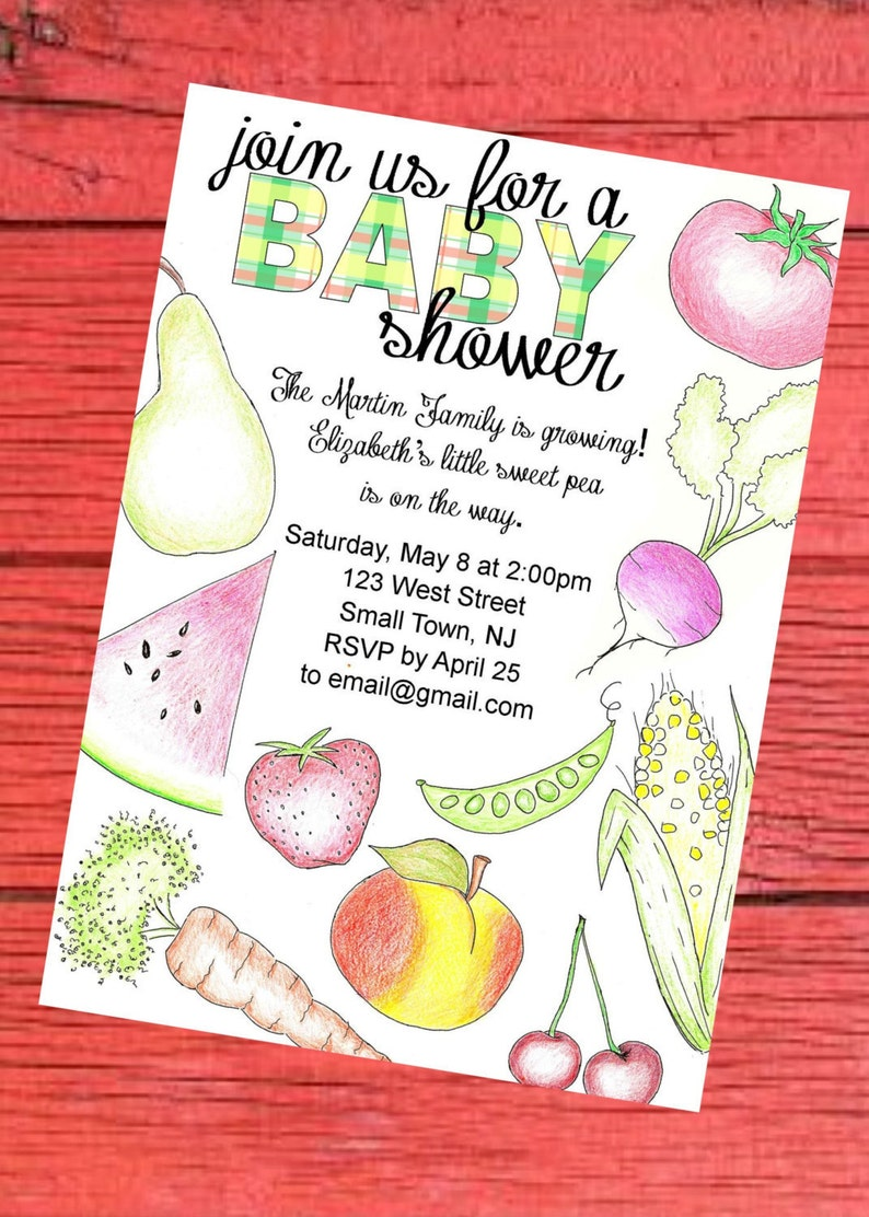 Farmers Market Baby Shower Invitation Printable Digital File Etsy