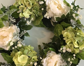Hydrangas and Peonies Floral Wreath