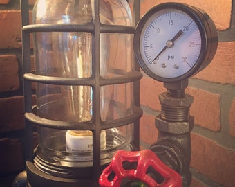 Steampunk Industrial Desk Lamp with Pressure Gauge