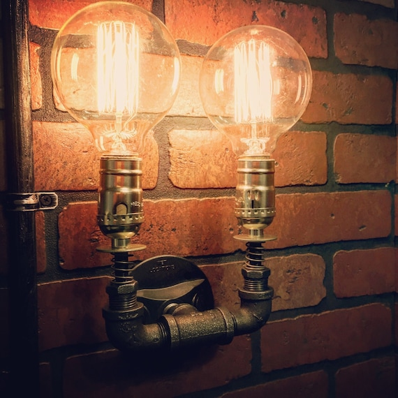 Steampunk Double Wall Sconce Light With Copper Springs