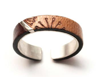Fine silver and leather ring, handmade, adjustable size 62-64