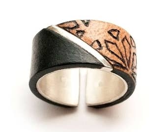 Large silver and leather ring, handmade, adjustable size 53-55