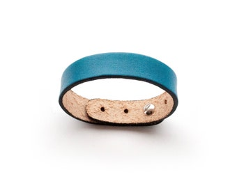 1.5 cm leather cuff, handmade, size adjustable 18-22.5 cm