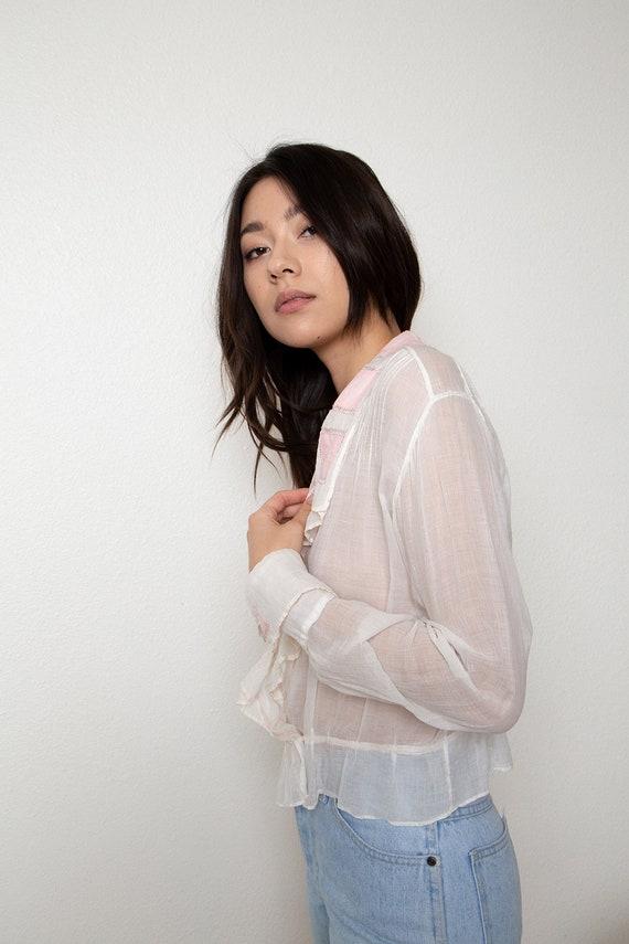 romantic antique sheer blouse - vintage wrap blou… - image 3