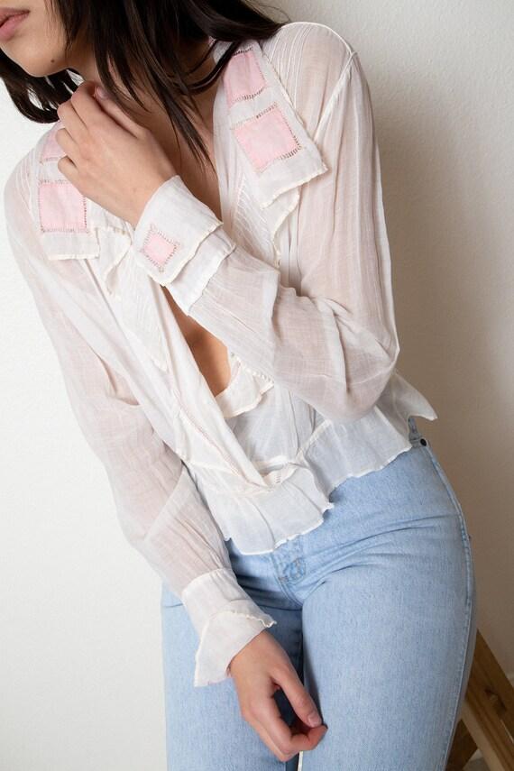 romantic antique sheer blouse - vintage wrap blou… - image 5