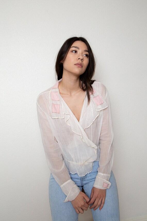 romantic antique sheer blouse - vintage wrap blou… - image 6