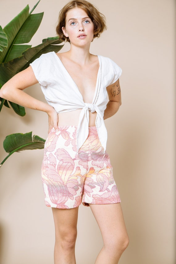 pastel quilted shorts- rare vintage tapestry high