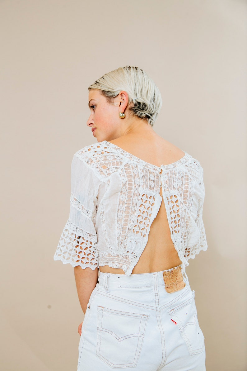 feeb44acf9b4be Romantic open back lace blouse vintage bell sleeve lace   Etsy