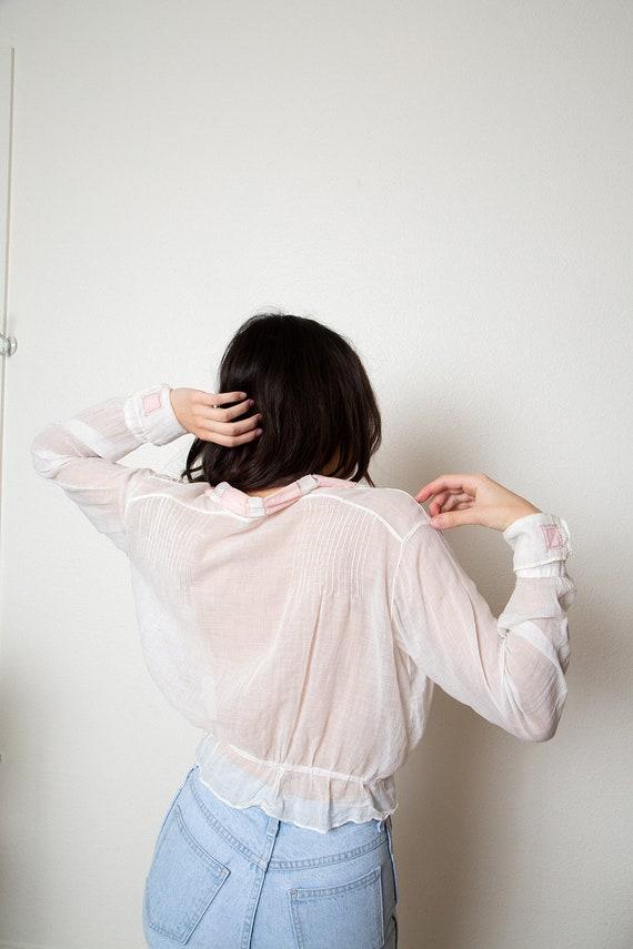 romantic antique sheer blouse - vintage wrap blou… - image 4