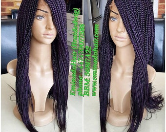 Braided Wig, singles plaits(Braids) Colour purple with black undertone, 14/16 inches.