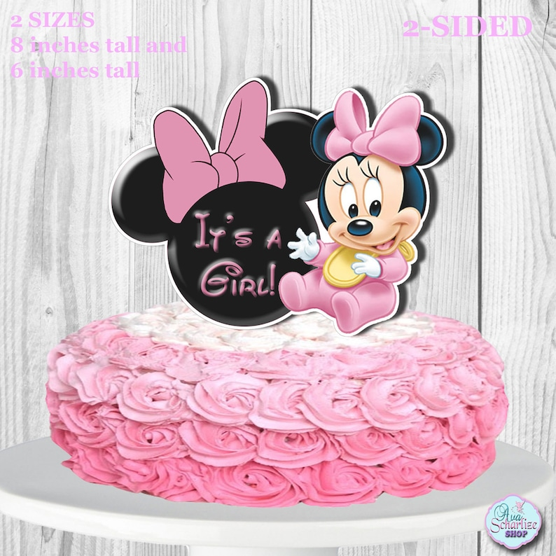 Superb Baby Minnie Mouse Cake Topper And Cupcake Topper Baby Shower Etsy Funny Birthday Cards Online Unhofree Goldxyz