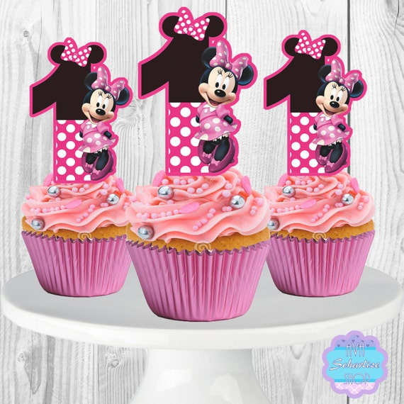 Fine Printable Minnie Mouse Cupcake Toppers Cupcake Picks 1St Etsy Funny Birthday Cards Online Necthendildamsfinfo