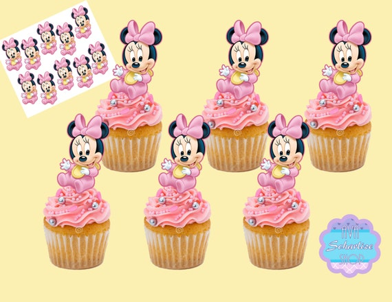 Excellent Baby Minnie Mouse Cupcake Topper Minnie Mouse Cupcake Picks Etsy Funny Birthday Cards Online Unhofree Goldxyz