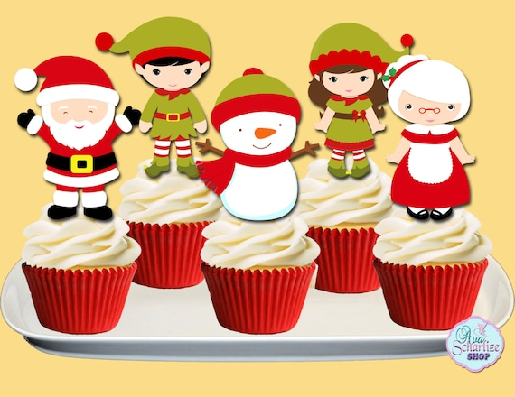 Christmas Cupcake Toppers.Christmas Cupcake Toppers Santa Claus Cupcake Toppers Holiday Cupcake Toppers Cupcake Picks Printable You Print