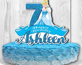 CINDERELLA Cake Topper, Disney Princess Cinderella Cake Topper, Disney Princess Centerpiece, PERSONALIZED, Digital File, You Print