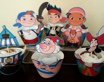 Jake and the Neverland Pirates Cupcake Toppers and Wrappers, Cupcake Picks INSTANT DOWNLOAD