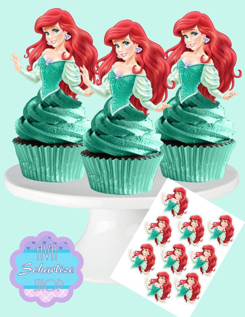 Princess ARIEL The Little Mermaid Cupcake Toppers Cupcake ...
