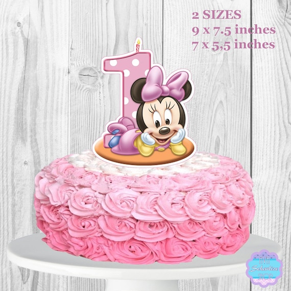 Magnificent Baby Minnie Mouse Cake Topper Printable You Print Etsy Funny Birthday Cards Online Unhofree Goldxyz