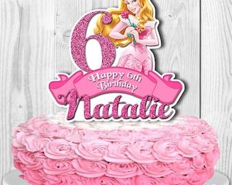 AURORA Cake Topper, Sleeping Beauty Cake Topper, Disney Princess Aurora Centerpiece, PERSONALIZED, Digital File, You Print