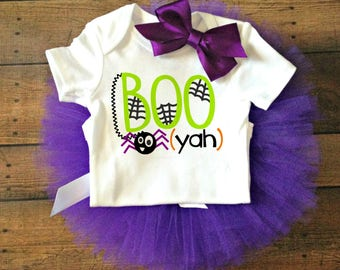 halloween baby outfit spider baby bodysuit halloween baby shower gift fall baby clothes boo yah bodysuit halloween costume baby fall & Purple boo costume | Etsy