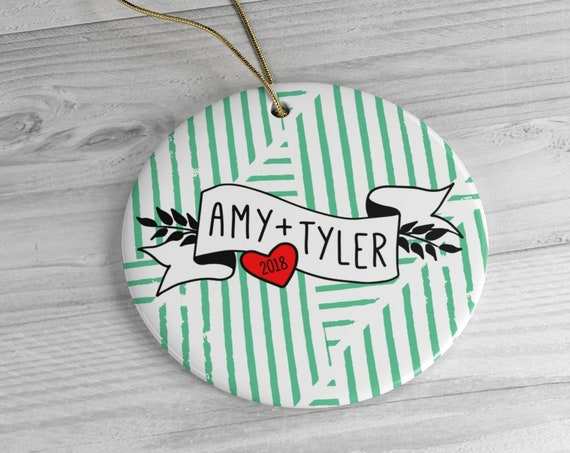 Personalized Ceramic Ornament | First Married Christmas | Gift for Couple, Newlyweds | Round | Green, Red | 2018