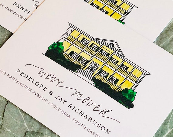 We've Moved Illustrated Moving Announcements | Note Cards Custom Illustration of Home & New Address | PRINTED 4.5 x 5.5 in. cards, envelopes