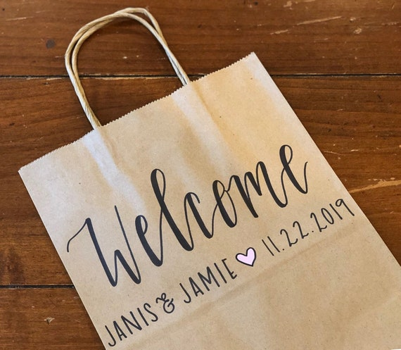 Kraft Welcome Bags | Personalized Rustic Brown Gift Bags | Names+Wedding Date+Heart | SET OF TEN, Hotel Bags for Out of Town Guests