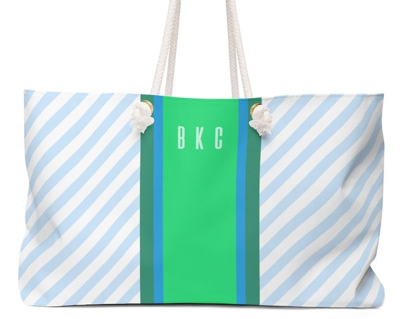 Personalized Monogram Tote | Canvas Monogram Beach Bag | Blue and Green or Peach and Teal | Oversized Weekender Bag | Gift for Woman