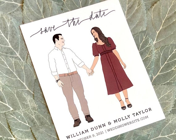Custom Couple Portrait Save the Date Cards | PRINTED 4.25x5.5 inch Cards and Envelopes | Custom Illustration Drawing of Couple