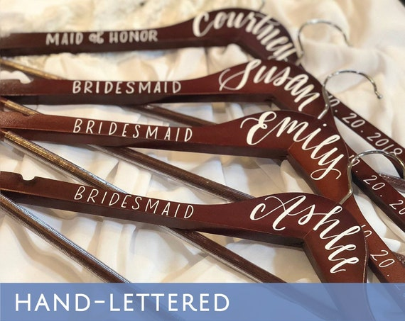 Wedding Bridesmaid Hanger Name, Title, Date | Bridesmaid Gift | Hand-lettered, Personalized Hanger | Bridesmaid Proposal, Bridal Hanger
