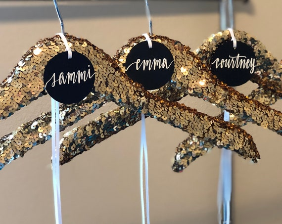 Gold Sequin Hanger | Wedding, Bride or Bridesmaid Hanger with Personalized Gift Tag | Gold Glitter Hanger