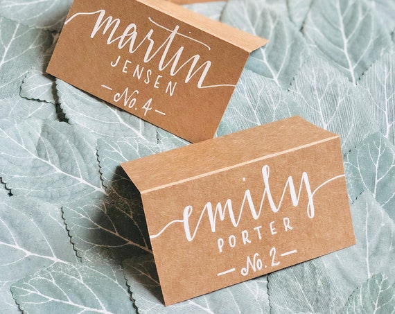 Calligraphy Wedding Place Cards | Hand-Lettered Name Cards | Brown Kraft Tented Place Cards | Rustic Table | White Ink | Modern Script