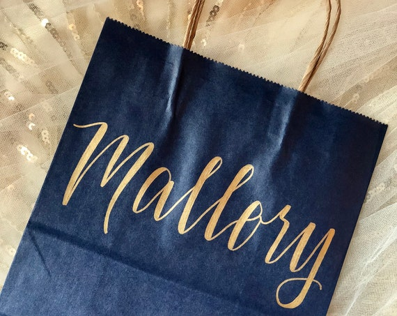 Personalized Gift Bag | Gold and Navy, Hand-lettered, Customized, Bridesmaid Gift, Groomsmen, Christmas, Wedding