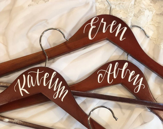 Set of Eight Bridesmaid Hangers, Hand-lettered, Wedding Hanger Set, Personalized Hangers, Customized, Bridesmaid Gift