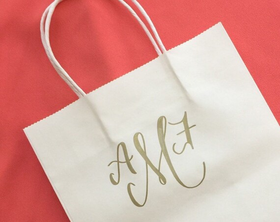 Personalized Gift Bag, Monogram, Gold, White, Hand-lettered, Customized, Bridesmaid Gift, Groomsmen, Bridal Party, Christmas,  Bridesmaid
