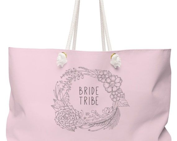 Bride Tribe Large Weekender Bag | Beach Tote | Bridesmaid Gift | Blush