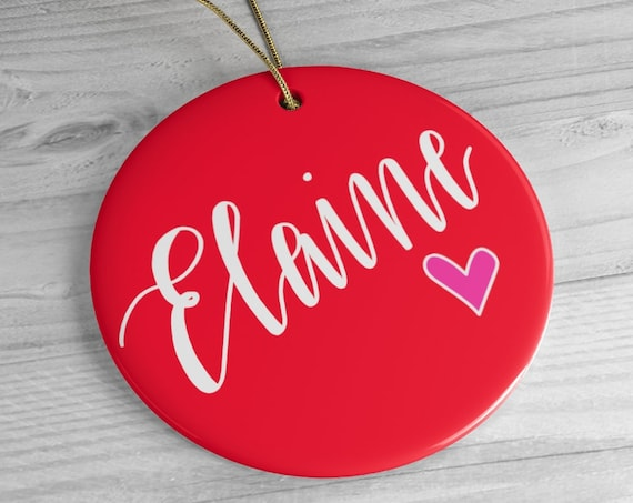 Personalized Ceramic Ornament | Christmas Gift | Stocking Stuffer | Red, Blue or Green | Round