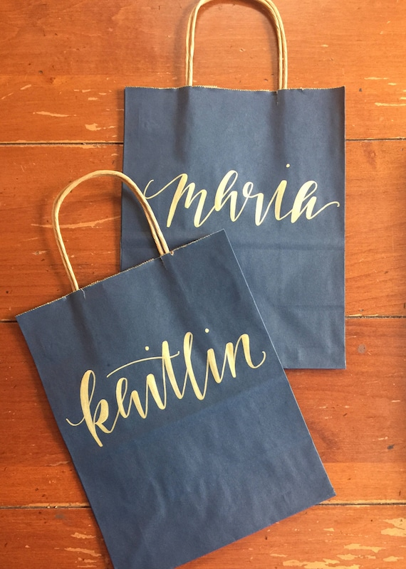 Personalized Gift Bag, Gold and Navy, Hand-lettered, curly calligraphy, Customized, Bridesmaid Gift, Groomsmen, Wedding, bridesmaid kit bag
