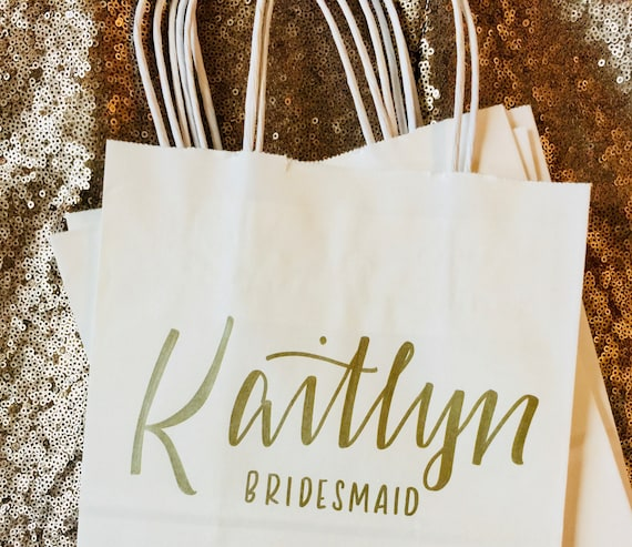 Set of 4 Personalized Gift Bags, Gold, White, Hand-lettered, Customized, Bridesmaid Gift, Groomsmen, Bridal Party, Christmas,  Bridesmaid