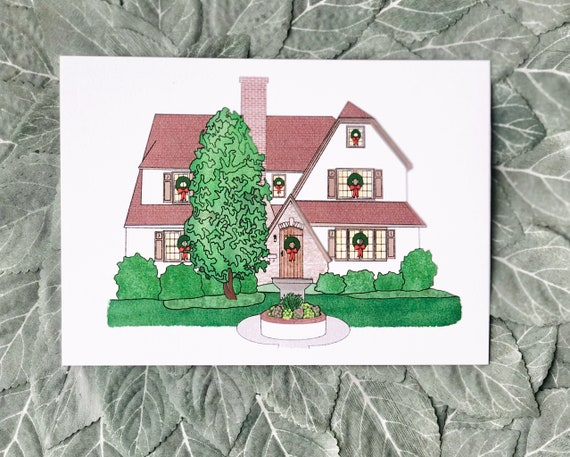 Custom Home Illustration | 5x7 or 8x10 Print on Heavy Cotton Card Stock | Personalized House Portrait