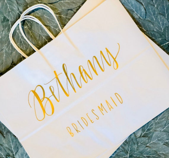 Personalized Gift Bag LARGE | White Bag with Gold Hand-lettered Name and Title or Date, Bridesmaid Proposal Gift, Christmas, Wedding Bag