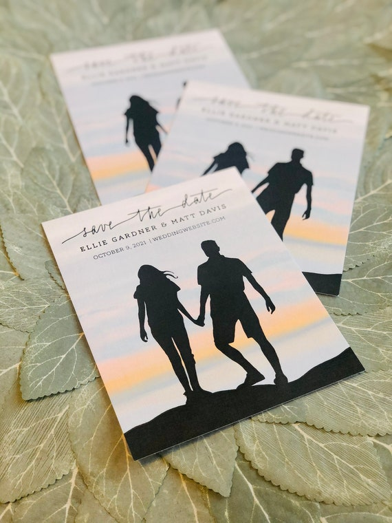 Custom Save the Date Cards Based on Your Photo | PRINTED 4.25x5.5 inch Cards and Envelopes | Pastel Sunset