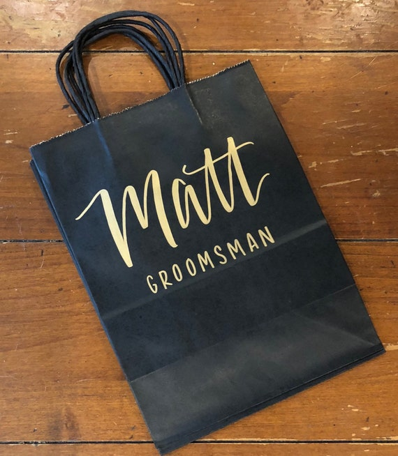 Groomsman Gift Bag |  Bridesmaid Gift Bag | Black Kraft Bags with Name and Optional Wedding Role/Title | Personalized Gift Bag