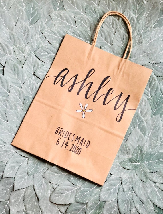 Personalized Gift Bag With Flower   Medium or Large   Brown Kraft Bridesmaid Bags   Wedding Favor Bags   Welcome Bags