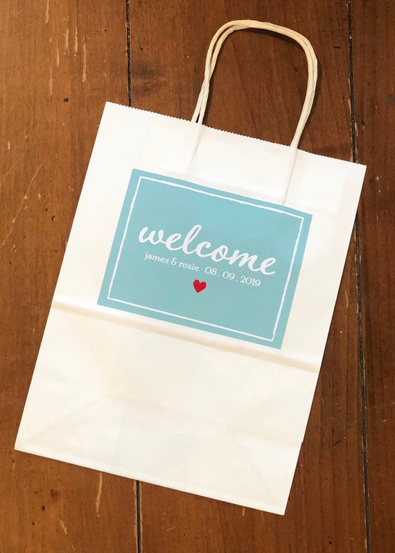 Personalized Welcome Bags | Wedding Welcome Gift Bags with Names, Date | Set of 10 Glossy Custom Labels on Paper Gift Bags | Hotel Bags