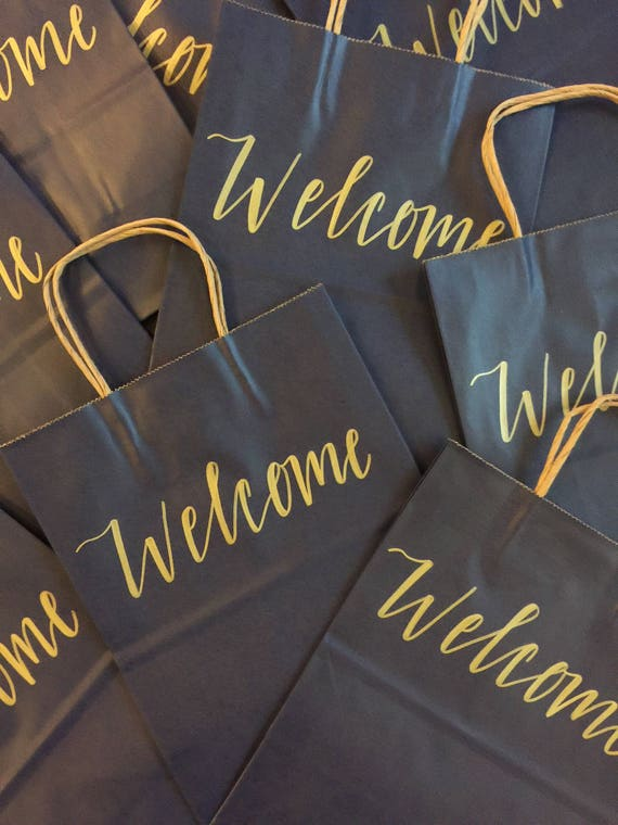 Set of 10 Welcome Gift Bags |  Hotel Bags | Wedding Welcome Bags | Navy and Gold