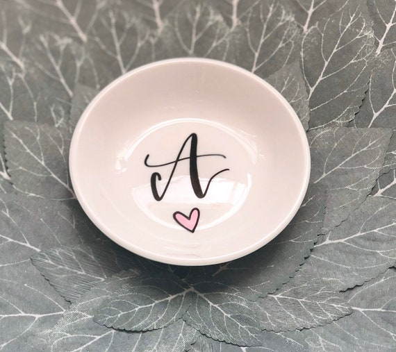 Personalized Ring Dish | Hand-Lettered Black Initial or Name with Gold or Pink Heart | Hand-Lettered | Stocking Stuffer | Bridesmaid Gift