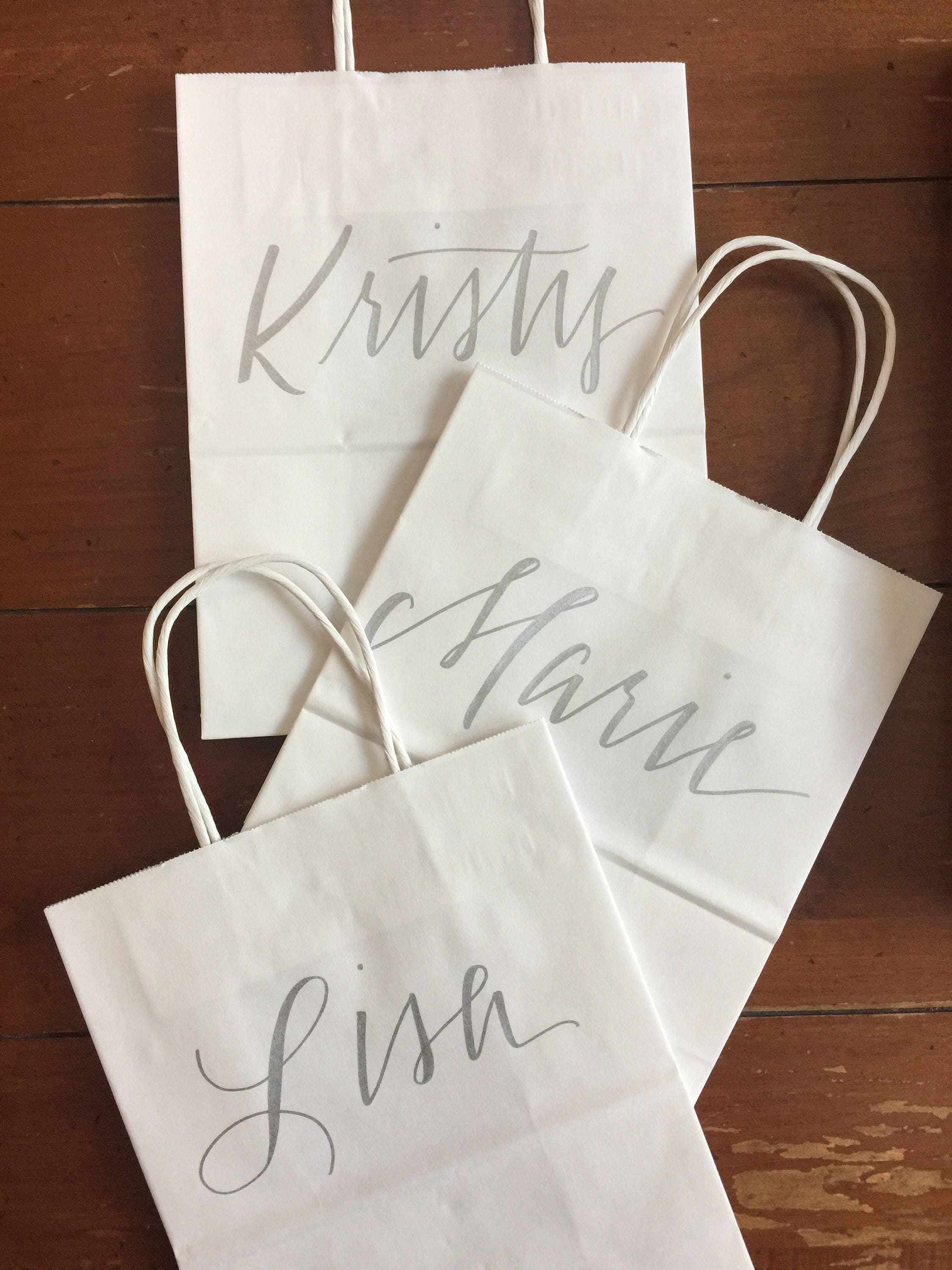 Bridesmaid Gift Bag Bridal Party Silver White Hand Lettered